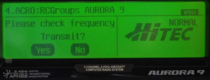 The Aurora asks every time you switch on if you want to transmit an RF signal.