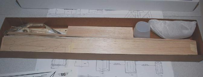 The colorful box contains the balsa, hardware, full-sized plans and instruction manual needed for the build.