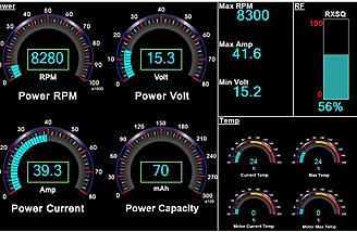 Here you see the entire flight's RPM, Power voltage, ESC current, Power used in mAh, Max RPM, Max AMP's, Minimum battery voltage, RF displays.  I don't have the motor temp module but that data would be displayed if connected.