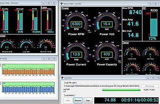 Receiver RF, Voltage, RX low voltage, RX temp.