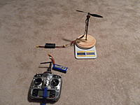 Name: tes stand.jpg Views: 271 Size: 90.4 KB Description: Simple test stand to measure thrust and power.