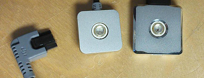 The original remote LED (left), with the new Bluetooth LED (right).