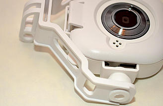 A tab and slot stop the camera rotating by itself.