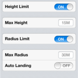 Height and radius range limits.