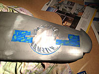 Name: IMG_8279.jpg Views: 134 Size: 266.0 KB Description: I masked up the insignia and rubbed the aluminium off with solvent. Then sprayed it again with the aluminium paint decanted into my airbrush