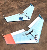 Name: power_trap_rc_flying_wing.jpg Views: 134 Size: 70.1 KB Description: POWER TRAP Motor Gliders. Rear plane built by Rich has a Razor RZ350 inrunner brushless motor attached to the rear of the trailing edge and a 5x5 prop with 20amp esc. Front plane, uses Hextronix 24gram (blue wonder) outrunner w/ 10amp esc, 8x4 prop.