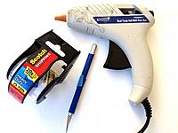 """Name: step00.jpg Views: 538 Size: 26.5 KB Description: STEP 1 Gather your tools; 1) Glue gun with a LOW temp setting. (I think most small guns are factory set to low) 2) Xacto knife 3) Some 2"""" wide clear packing tape."""