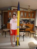 Name: Clare Eclipse (Large).jpg Views: 343 Size: 69.0 KB Description: My amazing girlfriend, kind enough to buy the altimeter for me, and to pose with the rocket.