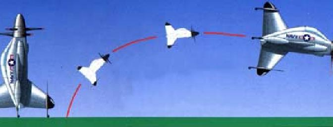 A sketch from the Pogo information site of the full scale taking off and transitioning to forward flight...