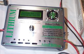 Astro's 109 Deluxe LiPoly-only Charger for 1-9 cells (4-37V) and 50mA to 8A -- for 140mah to 8Ah cells!  Photo courtesy of Steve Horney. (Sorry that its a bit washed out.)