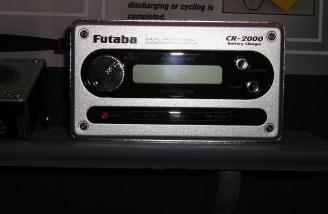 Futaba's new CR2000 battery charger, including autocutoff with audio alert, peak detection, LCD display, cigarette-lighter adapter, and more.