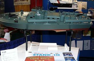 The PT109 sports twin motors, triple rudders and armament, as well as 40