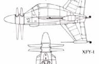 Sketches of the full-scale Convair Pogo XFY-1, courtesy of fiddlersgreen.net
