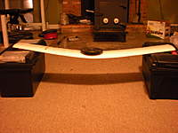 """Name: Covering 029.jpg Views: 125 Size: 73.4 KB Description: Supporting 5lbs weight.  This is simulating an 8G turn!  Can you believe that wing is only 3/4"""" thick?"""