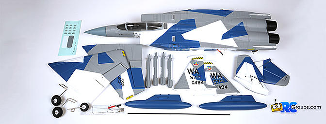 Contents of the E-flite F-15 Eagle as it comes out of the box