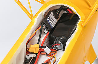 5200mAh 3-cell battery from a quad, flys the PT-17 for about 10 minutes