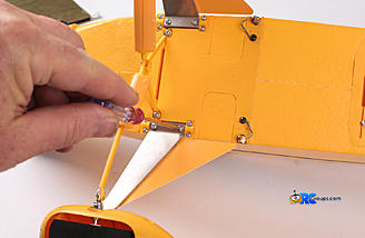 A total of six screws hold the scale landing gear in place.