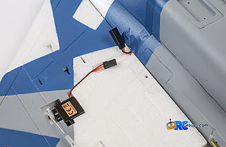 Aileron servo plugs into lead from fuselage
