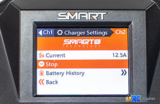 Charger settings screen during charge