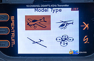 Acro, helicopter, sailplane and multi-rotor are model types, each with their own type specific setups