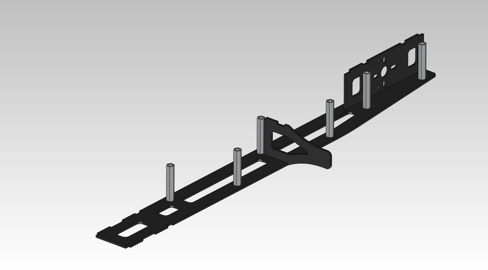 Name: hlaf arm 2.jpg Views: 100 Size: 46.6 KB Description: Take 1 arm plate and in each hole insert a screw and a standoff and tighten them with the included hex wrench.
