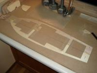 """Name: DSC01110.jpg Views: 707 Size: 26.7 KB Description: sheer nailed to workboard (2' by 4' by 1/2"""" piece of MDF; so I don't destroy the kitchen counter)"""