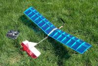 "Name: DuskStick.jpg Views: 876 Size: 259.5 KB Description: My first ever kit. Mountain Models DuskStik. 50"" wingspan and 6.8 ounces AUW. What a floater!"