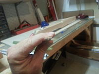 Name: 20120726_224557.jpg Views: 97 Size: 145.8 KB Description: After sanding the bottom of the deck, the 3x5mm stock is now at the same angle as F23.