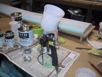 Name: IMG_4331.jpg Views: 401 Size: 91.5 KB Description: Let's do some Mylar painting. HVLP gun and paint all ready to mix.