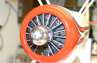 The dummy engine was detailed and painted using flat paint, the aluminum tubing in the kit, and some red wires to simulate spark plug leads.