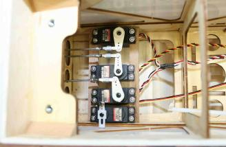 Inside the fuselage, there's barely enough room for the servos, let alone your hands!