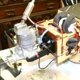 In order to add more useful weight to the front of the Hawk, I installed a home made onboard glow plug lighter and a 5000 maH D cell battery to the engine box, again away from the heat of the engine.