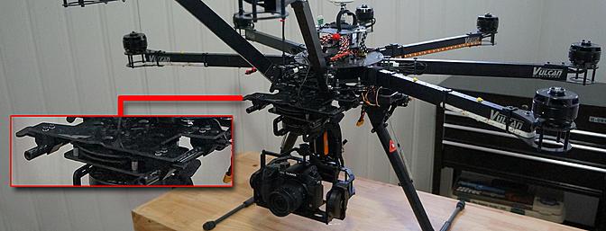 Custom mounting of the iFlight BetView 5D/GH3 gimbal to my VulcanUAV Octo.