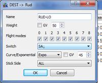 Name: 06 SticksRudder.png Views: 94 Size: 25.3 KB Description: Low Rate settings for Rudder