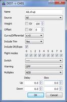 Name: 08 Mixes Aileron.png Views: 103 Size: 28.4 KB Description: Aileron Mix setup.  Note I'm using dual aileron servos with differential.