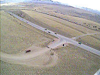 Name: fpv-10km-video-still3.jpg Views: 78 Size: 118.4 KB Description: Screenshot from flight camera, 10km from home.   600mW 1.3Ghz VTX with homemade Vee + 8dB patch on Racewood VRx.