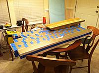 """Name: Floats-1.jpg Views: 115 Size: 237.0 KB Description: I've cut the stock to 2""""x4""""x54"""" and then glued together to make 4""""x4""""x54"""" foam cores. I used gorilla glue and taped together well."""