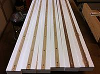 Name: Floats-8.jpg Views: 96 Size: 155.5 KB Description: Floats with spines glued in, ready to drill holes down into the foam for the dowels.