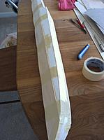 Name: Floats-35.jpg Views: 48 Size: 116.4 KB Description: Sheeting back in place and tapped at intervals. This is to hold it in place while I put down the rest of the tape.