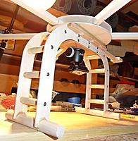"""Name: 2.jpg Views: 51 Size: 76.9 KB Description: Used 1/8"""" ply for the legs instead of 3/4"""" pine. I'm also switching over to the Joby tripod mount. AUW as it sits is 24 oz's. Unfortunately, I'm still going to be in the 80 ounce range when all's said and done. I guess that's better than the 100"""