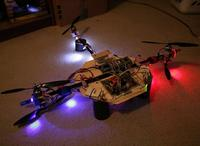 Name: penta01.jpg Views: 127 Size: 125.1 KB Description: While brooding over the balance issues in the quad rotor, decided we didn't have enough thrust.  The cheapest solution is to add 1 more rotor using spare parts & divide the 5th rotor between pitch control & extra thrust.
