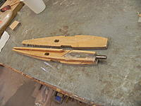 """Name: DSCN3548.jpg Views: 147 Size: 195.8 KB Description: The wing will have this root rib with a 3/16 music wire pin at the front with servo wires routed inside.  sides are 1/4"""" ply"""