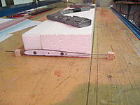 Name: IMG_6231_resize.JPG Views: 21 Size: 136.0 KB Description: Cutting the foam: 3# EPP in front, 2# EPS behind. Pull apart to glue in a 1x10mm CF stick spar along top surface of wing: leaves space for servo wires underneath.