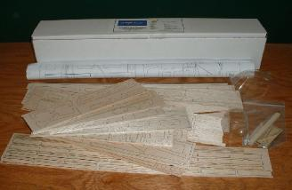 The complete kit contents. Ah, the sweet smell of lasercut balsa.