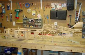 Here is the fuselage under construction.  The stringers are 1/8