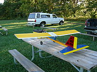 Name: swizel stick.jpg Views: 134 Size: 317.7 KB Description: All Spad wing, Swizzle Stick fuse, conventional tail. wing still exists the rest is toast after MANY MANY students!