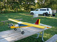 """Name: DSCN1762.jpg Views: 162 Size: 319.3 KB Description: Flew GREAT as the wing was foil all the way to the tip where a stock LT has large up tapers. wing spar is 1/2"""" blue foam sandwitched in yard sticks"""