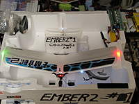 "Name: 10-25-2009 IMG_6081.jpg Views: 297 Size: 67.3 KB Description: Ember 2, #1 in its ""hangar"", lights on!  Tiny Brite Lights set #2022."