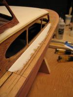 Name: Chris Craft Hull 003.jpg Views: 309 Size: 61.7 KB Description: This shows how the cabin fits after the Bondo has been applied. Note the gap where the rear decking comes in from the lower left hand corner.