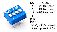 Name: DIPSW4.jpg Views: 864 Size: 113.8 KB Description: Modification with a 4-pin DIP switch: 50kOhm resistor gives ~ 2/3 the fan speed 22kOhm resistor gives ~ 1/2 the fan speed both those connected in parallel give ~ 1/3 the fan speed shorting pin 4 to ground gives min fan speed voltage regulation ON/OFF